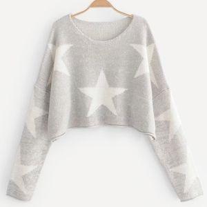 Sweaters - Drop Shoulder Star Pattern Crop Sweater
